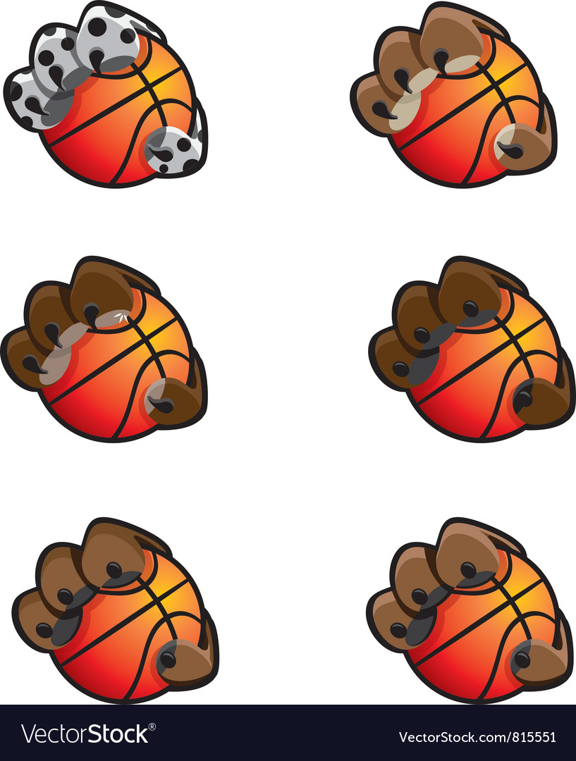 Basketball Animal Claw Icon Set vector image