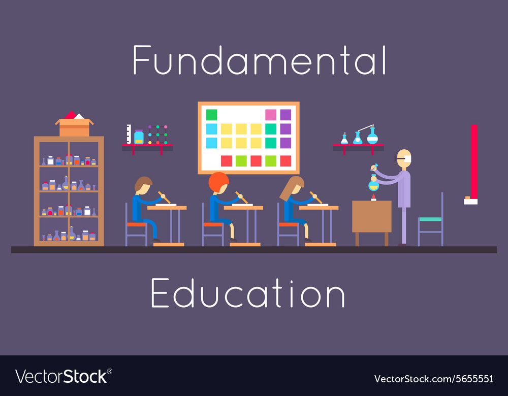 Chemistry education class room flat design vector image