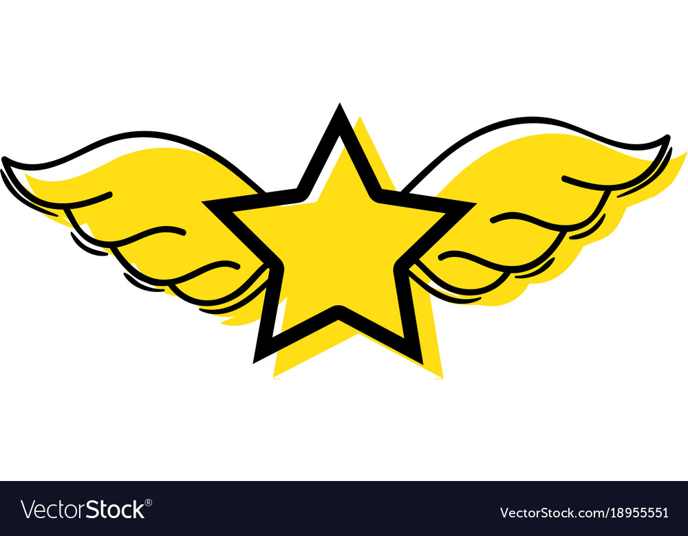 Color Star With Wings Rock Symbol Art Royalty Free Vector