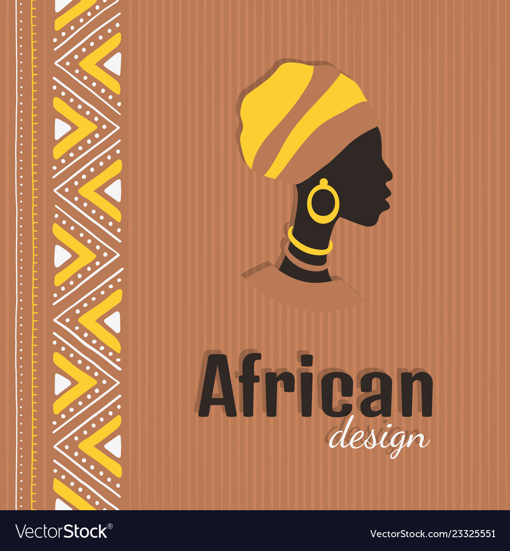 Colorful african style card with woman silhouette