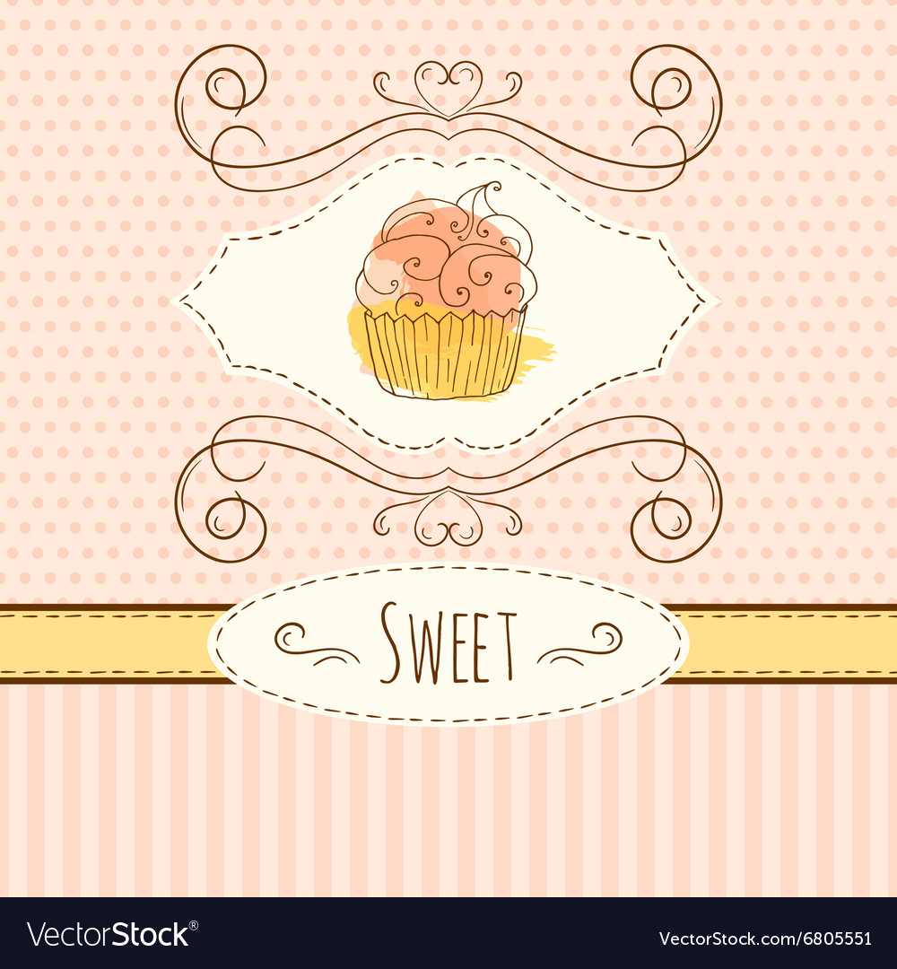 Cupcake hand drawn card with