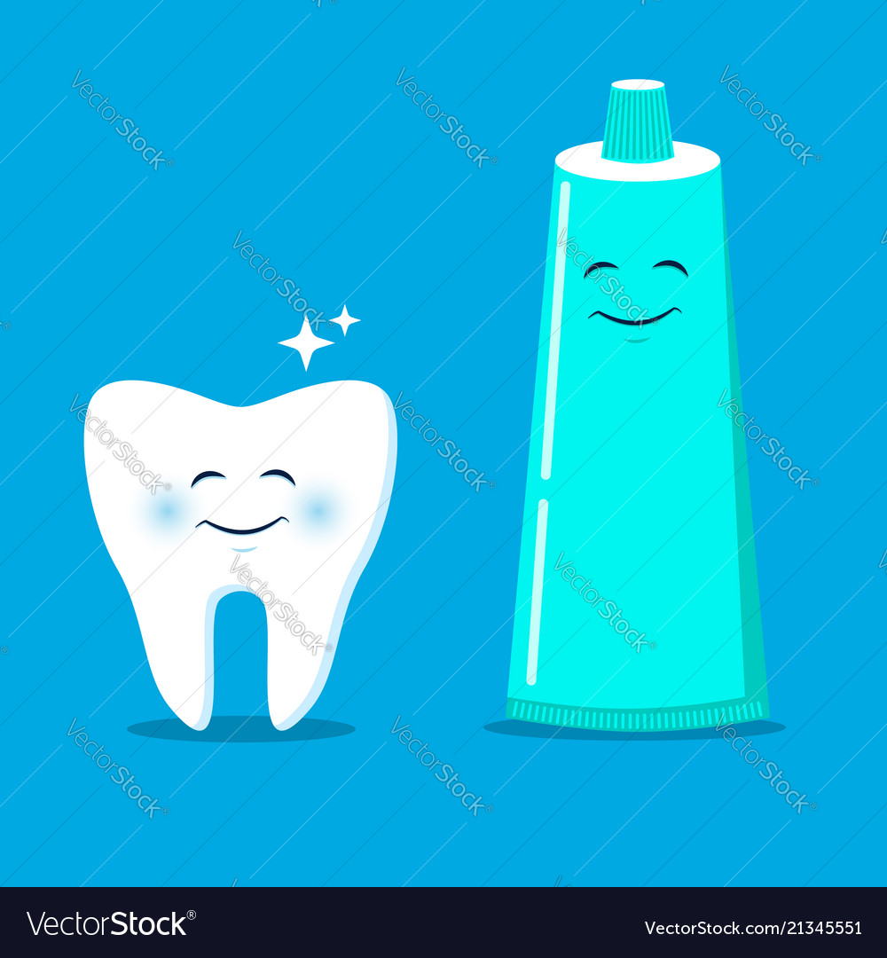 Cute tooth with cartoon toothpaste