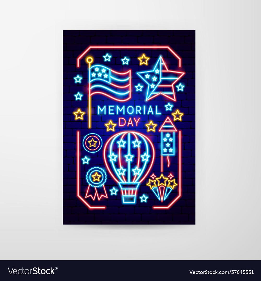 Memorial day neon flyer