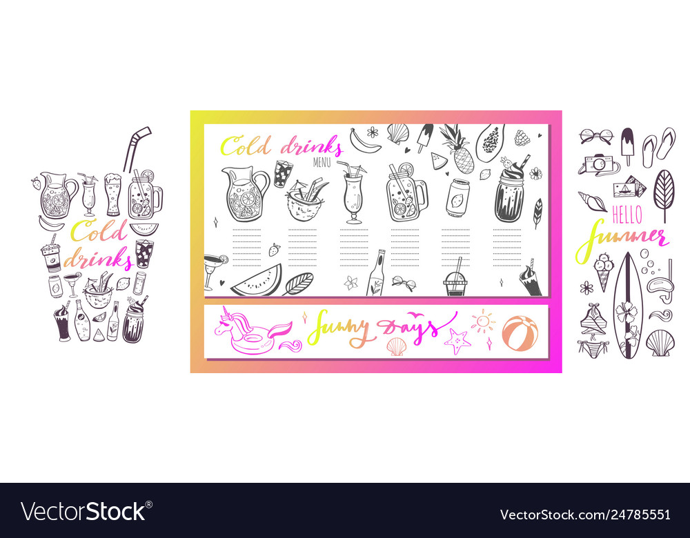 Restaurant and bar menu template with hand