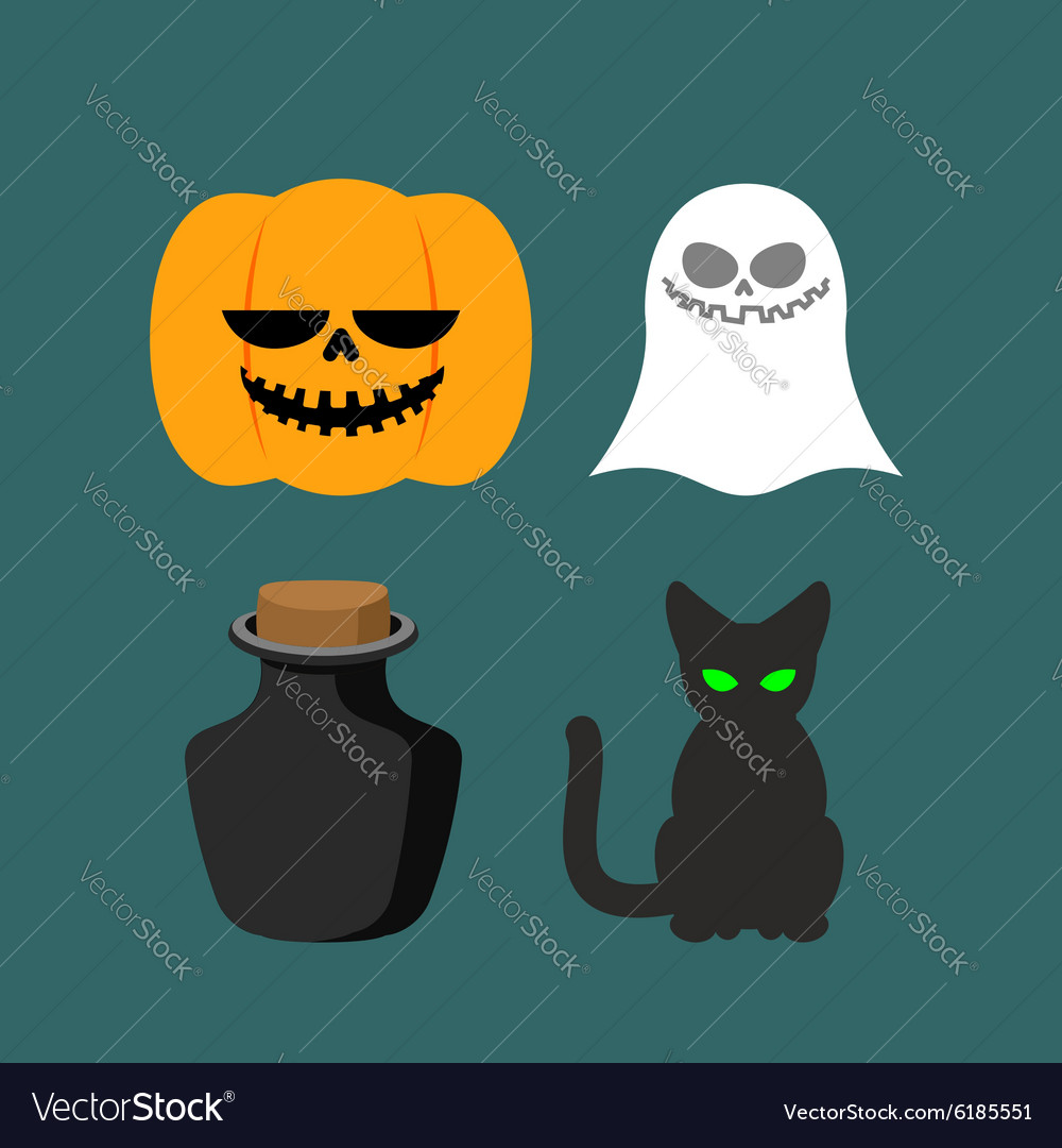 Set of icons for Halloween Symbol dreaded holiday
