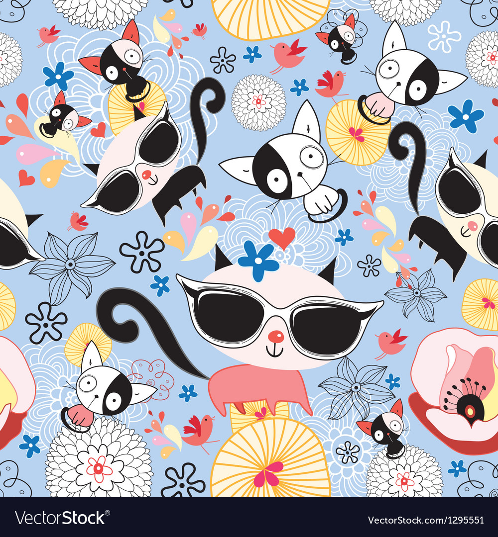 Texture of funny kittens vector image