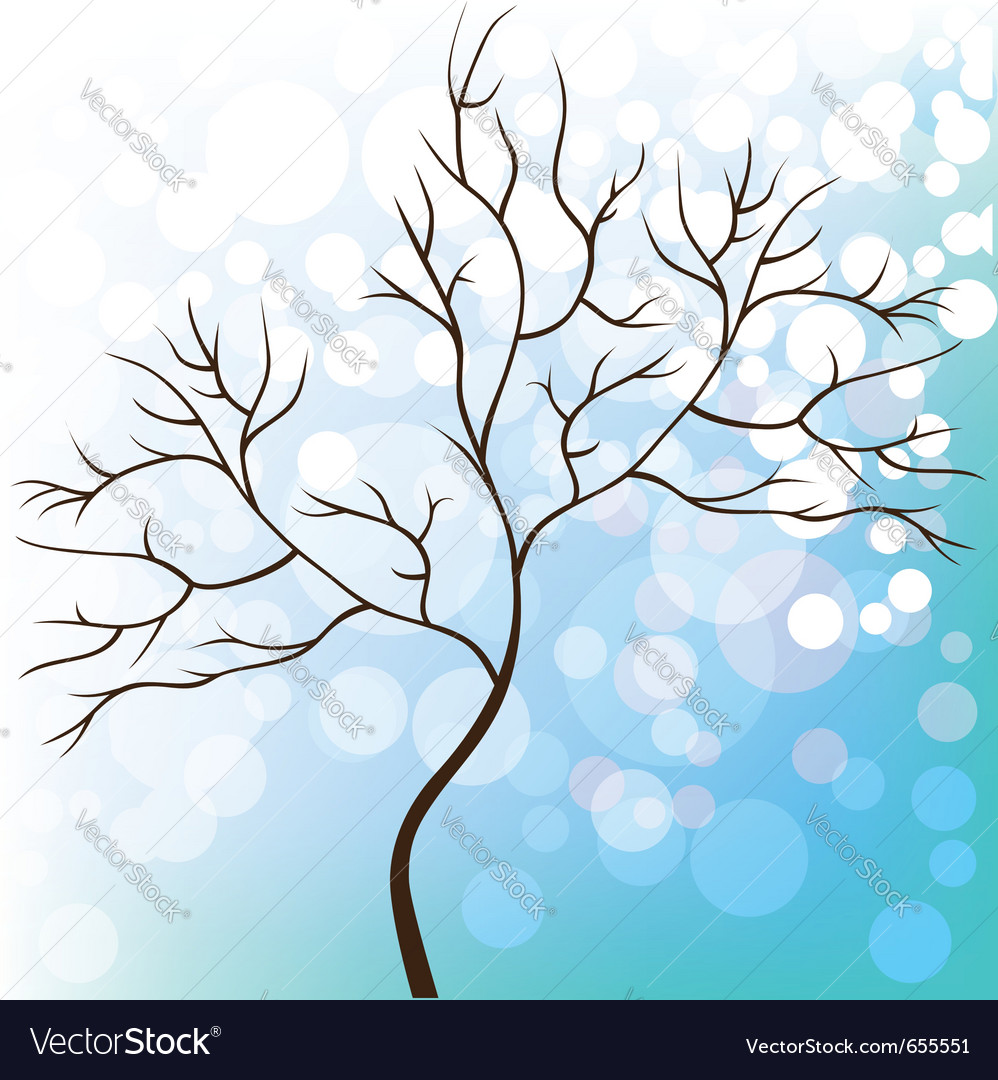 Winter snow background tree without leaves vector image