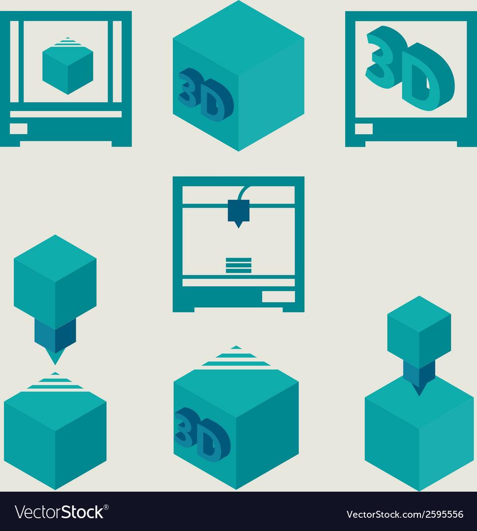 3D Printer flat blue icons set