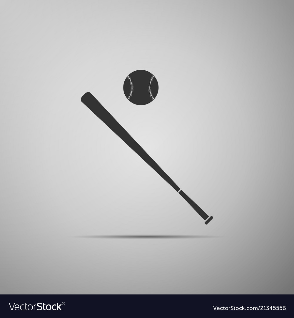 Baseball ball and bat icon on grey background