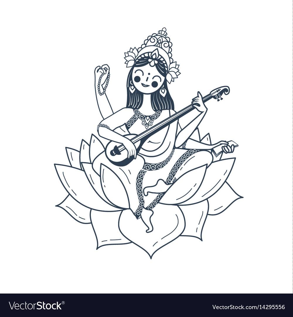 Black and white happy vasant panchami saraswati