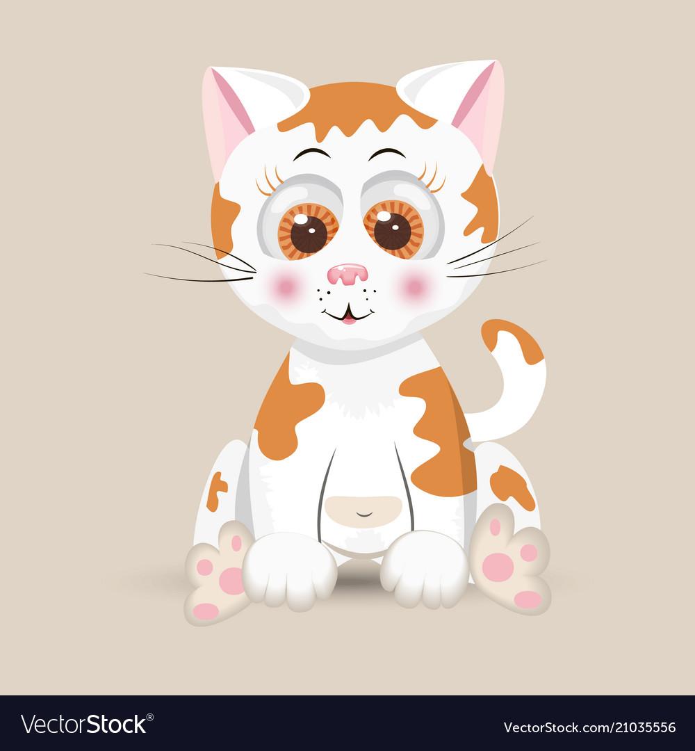 Cat cute furry red fluffy kitten funny happy