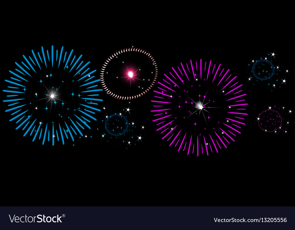 Colorful fireworks on night sky new year vector image