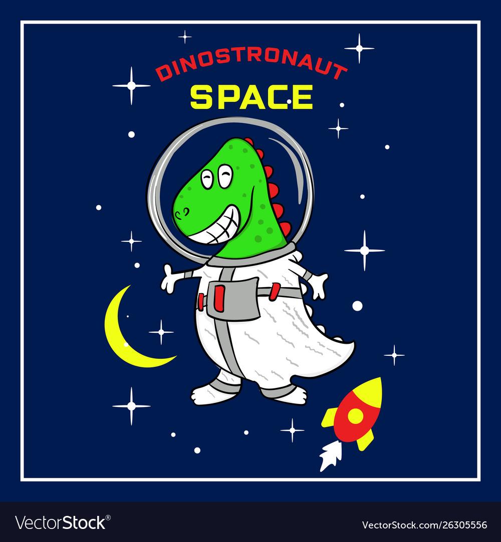 Cute dino astronaut cartoon in space
