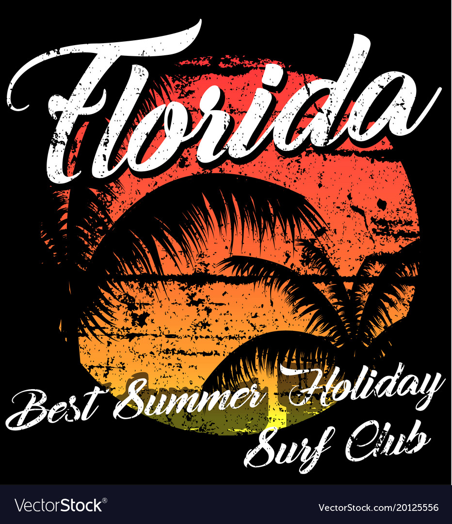 Florida - concept in vintage graphic style for