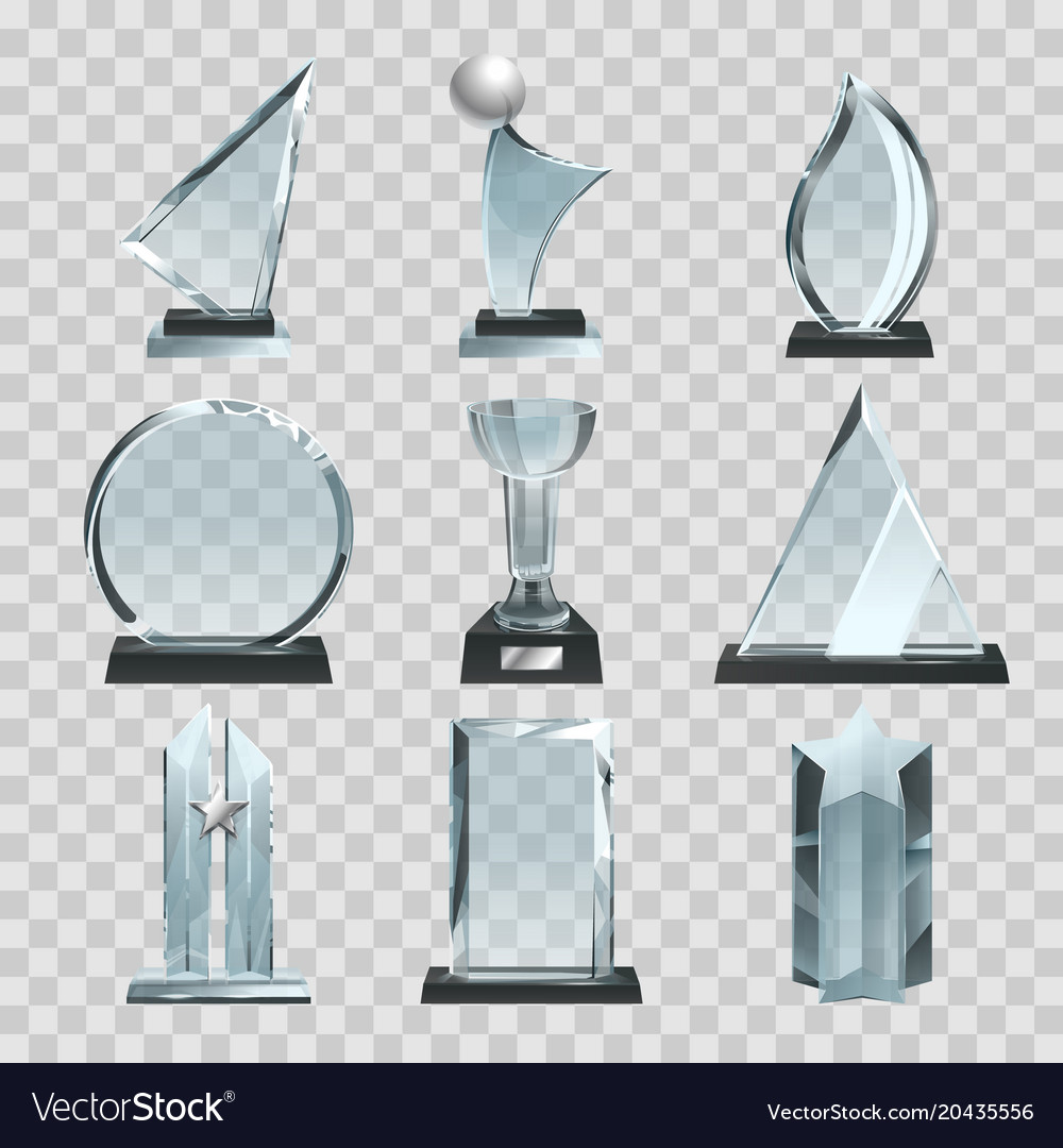 Glossy transparent trophies awards and winner