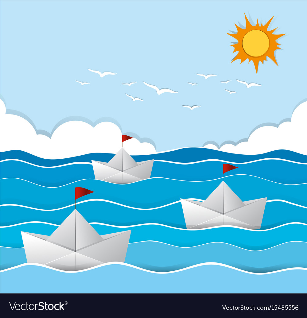 Origami boats sailing in the sea vector image