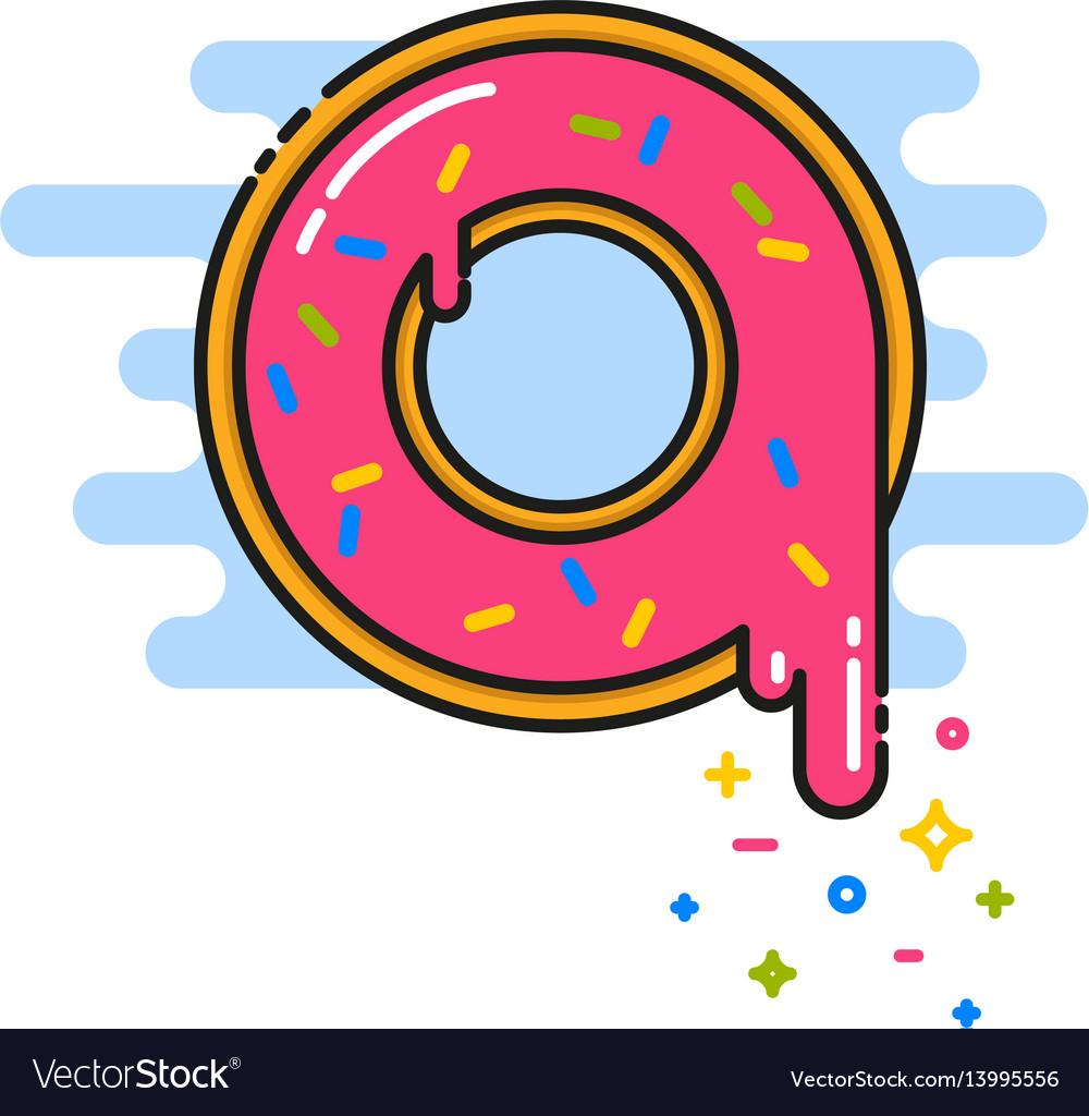 Pink donut with sprinkles black line