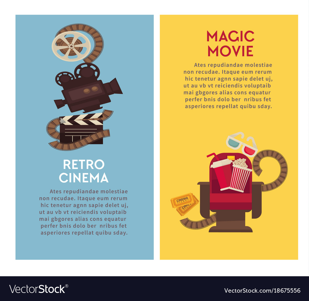 Retro Cinema Movie Theater Flat Poster Of Vector Image