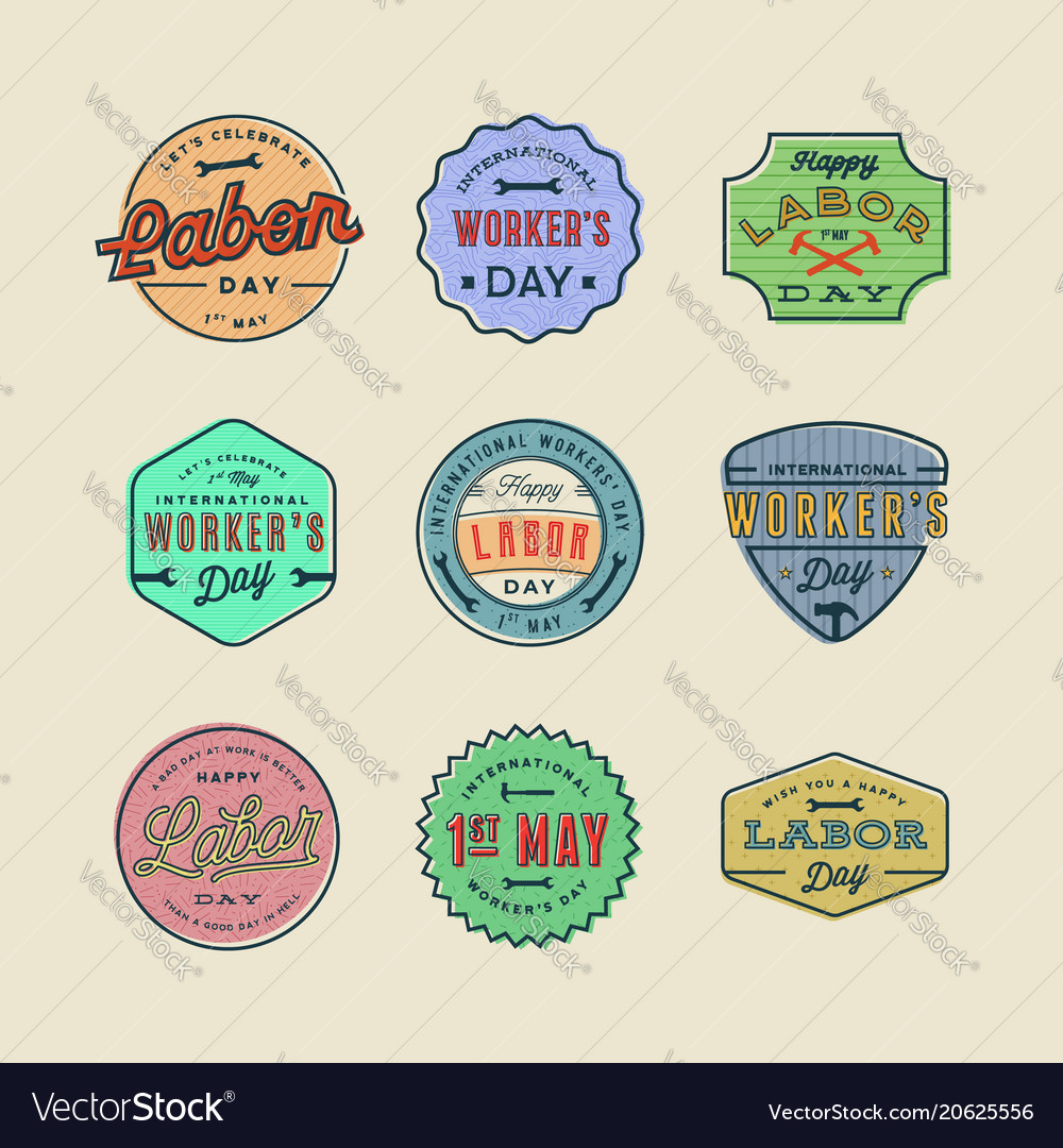 Set of labor day badges international workers day