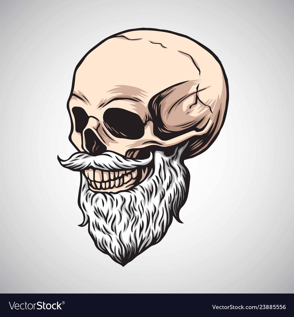 Skull bearded moustache drawing
