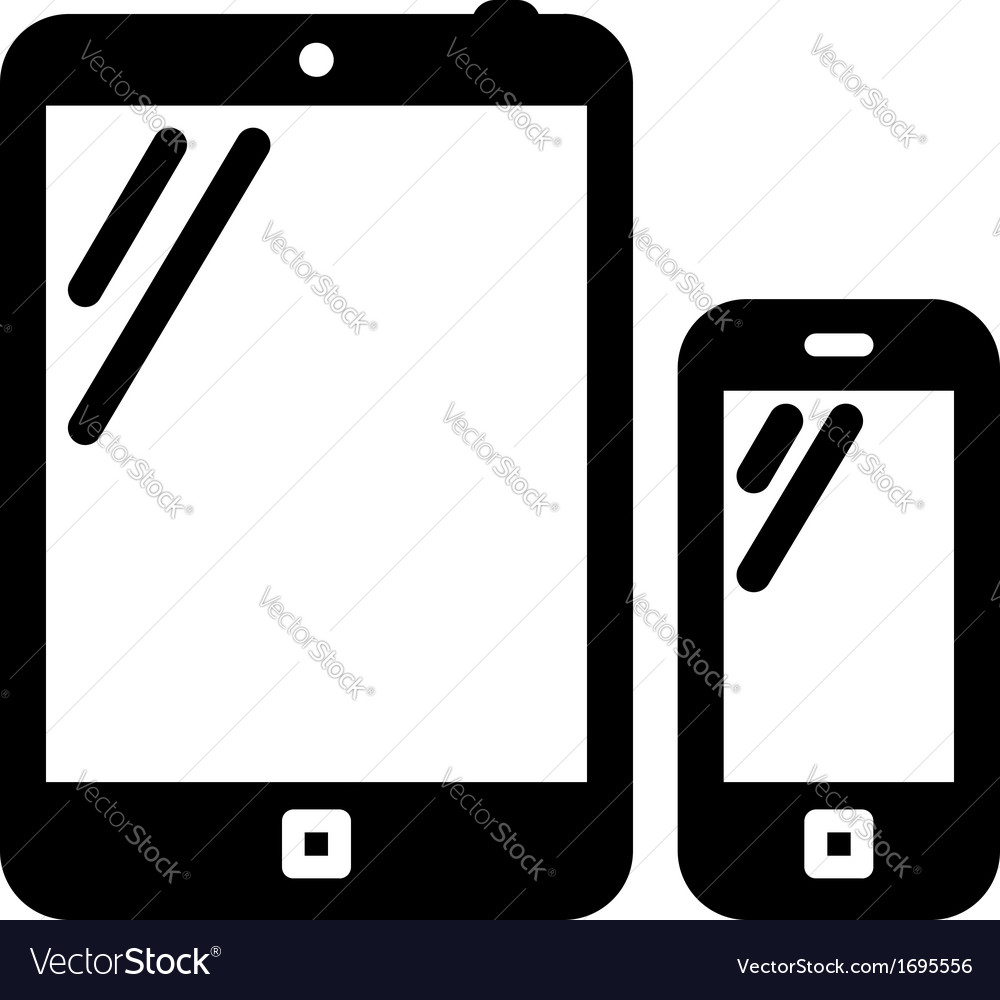 tablet pc and mobile phone sign royalty free vector image rh vectorstock com vector phone graphic vector phoneme