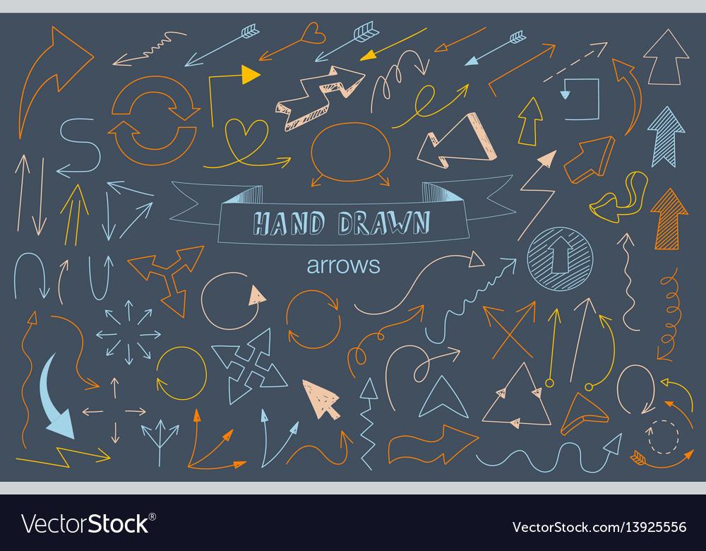 Unique collection of hand drawn arrows