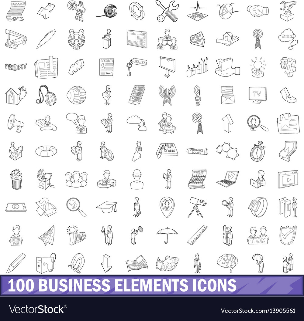 100 business elements icons set outline style