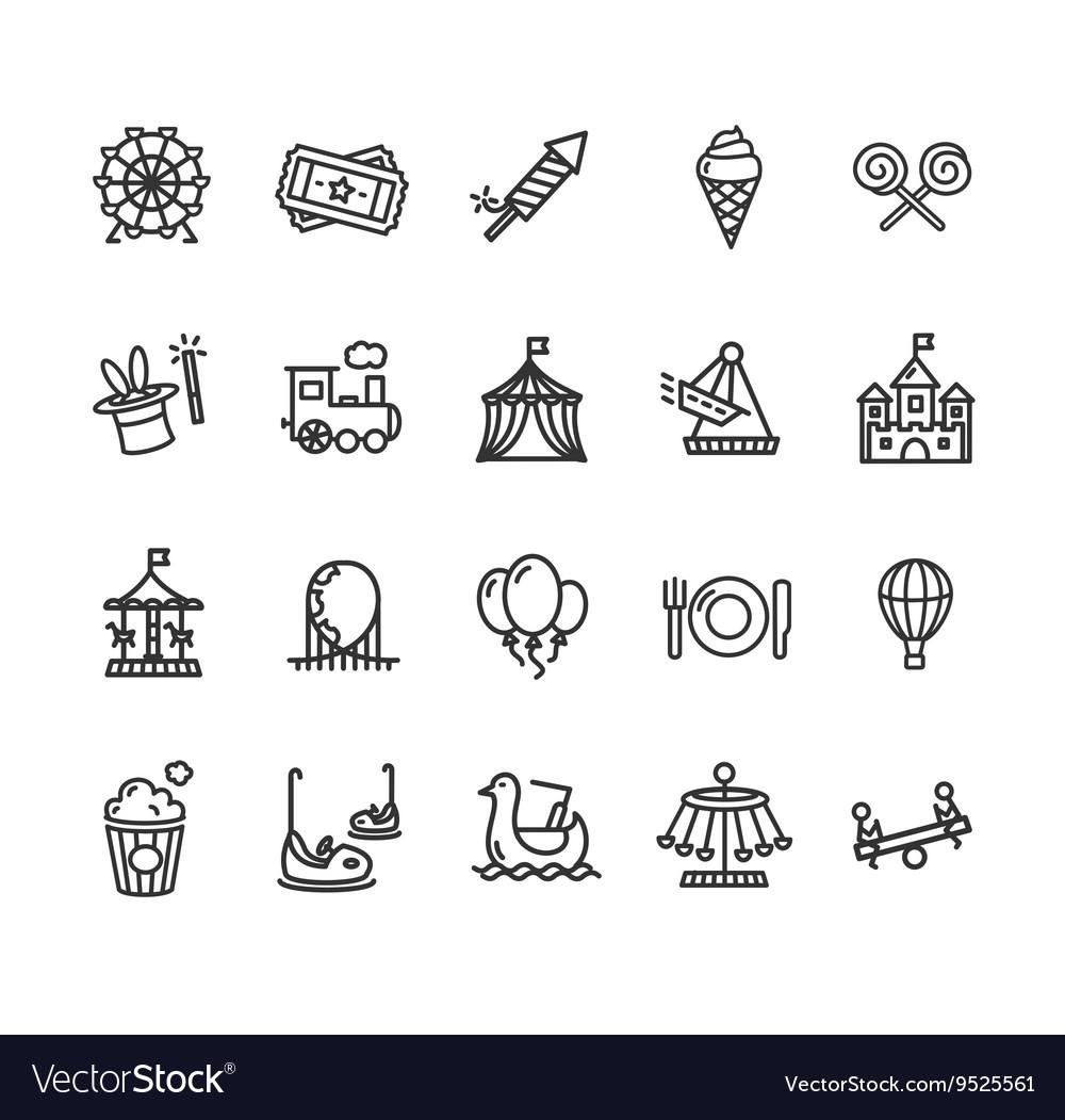 Amusement Park Outline Icon Set
