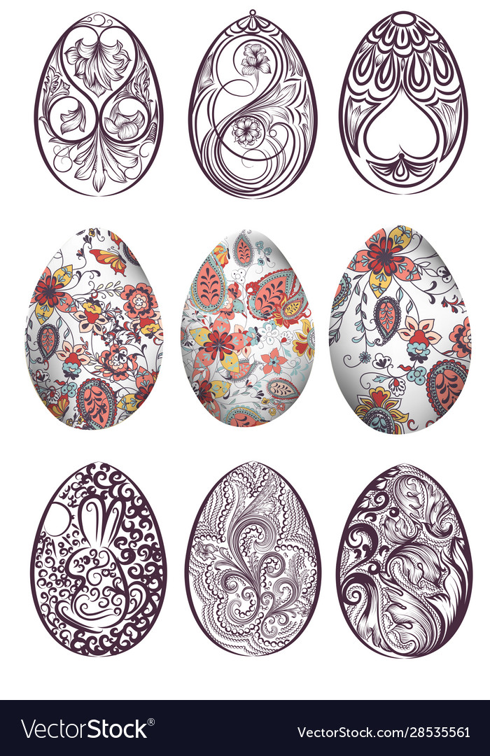 Big set easter eggs decorated with swirls