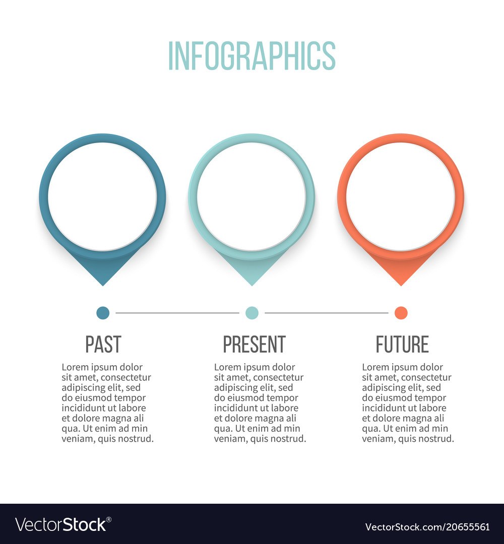 Business infographics timeline with 3 steps