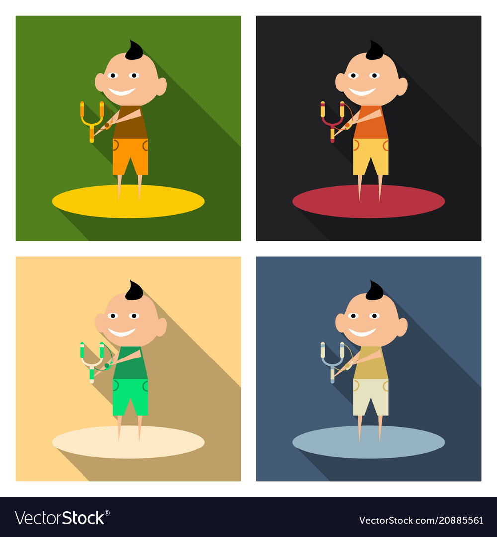 Cartoon image of a cute little boy in shorts and