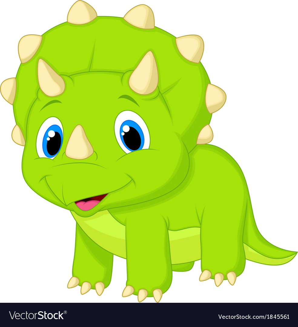cute baby triceratops cartoon royalty free vector image
