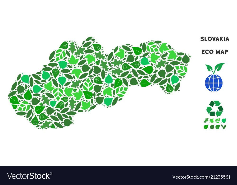 Ecology green composition slovakia map