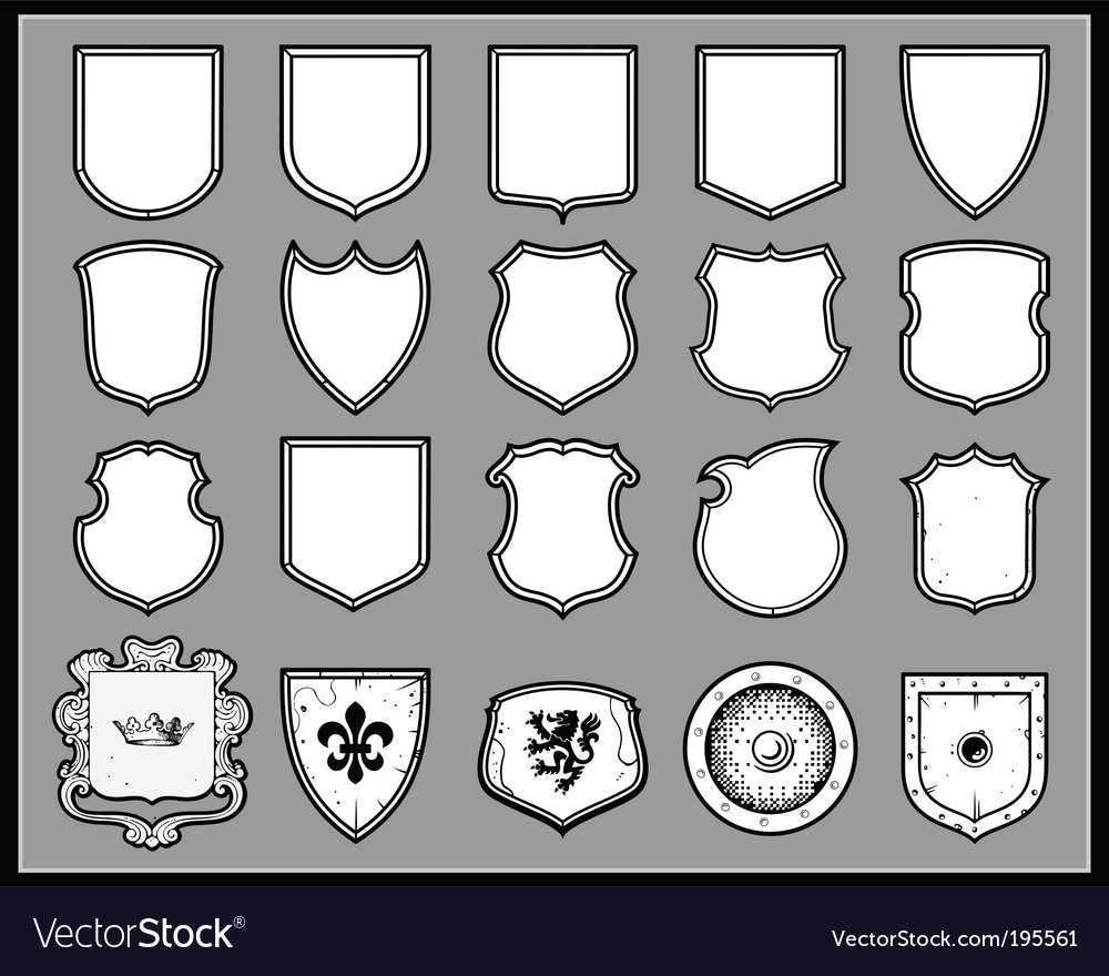 Heraldic shields template Royalty Free Vector Image