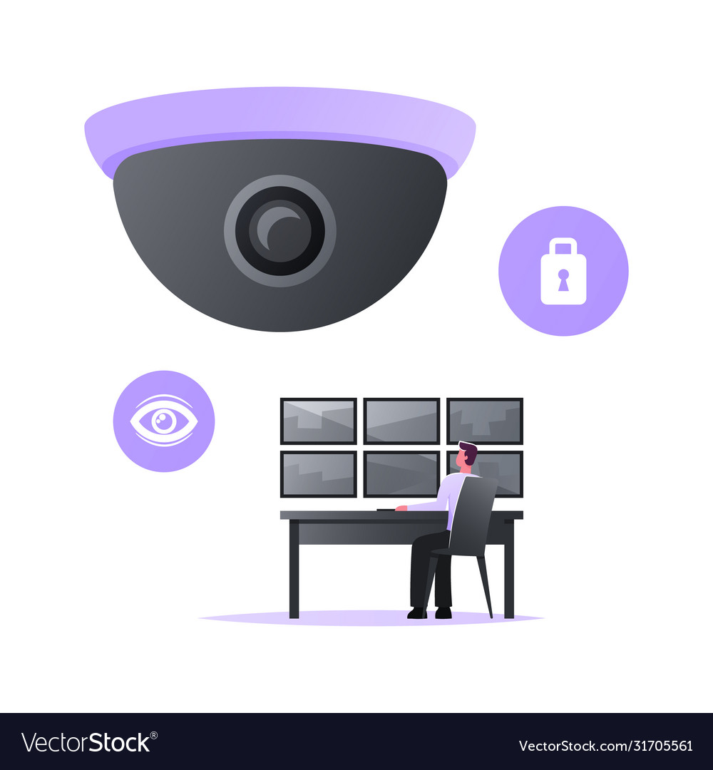 Man safeguard sitting at huge video camera looking