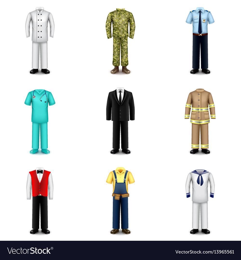 Professions uniforms icons set