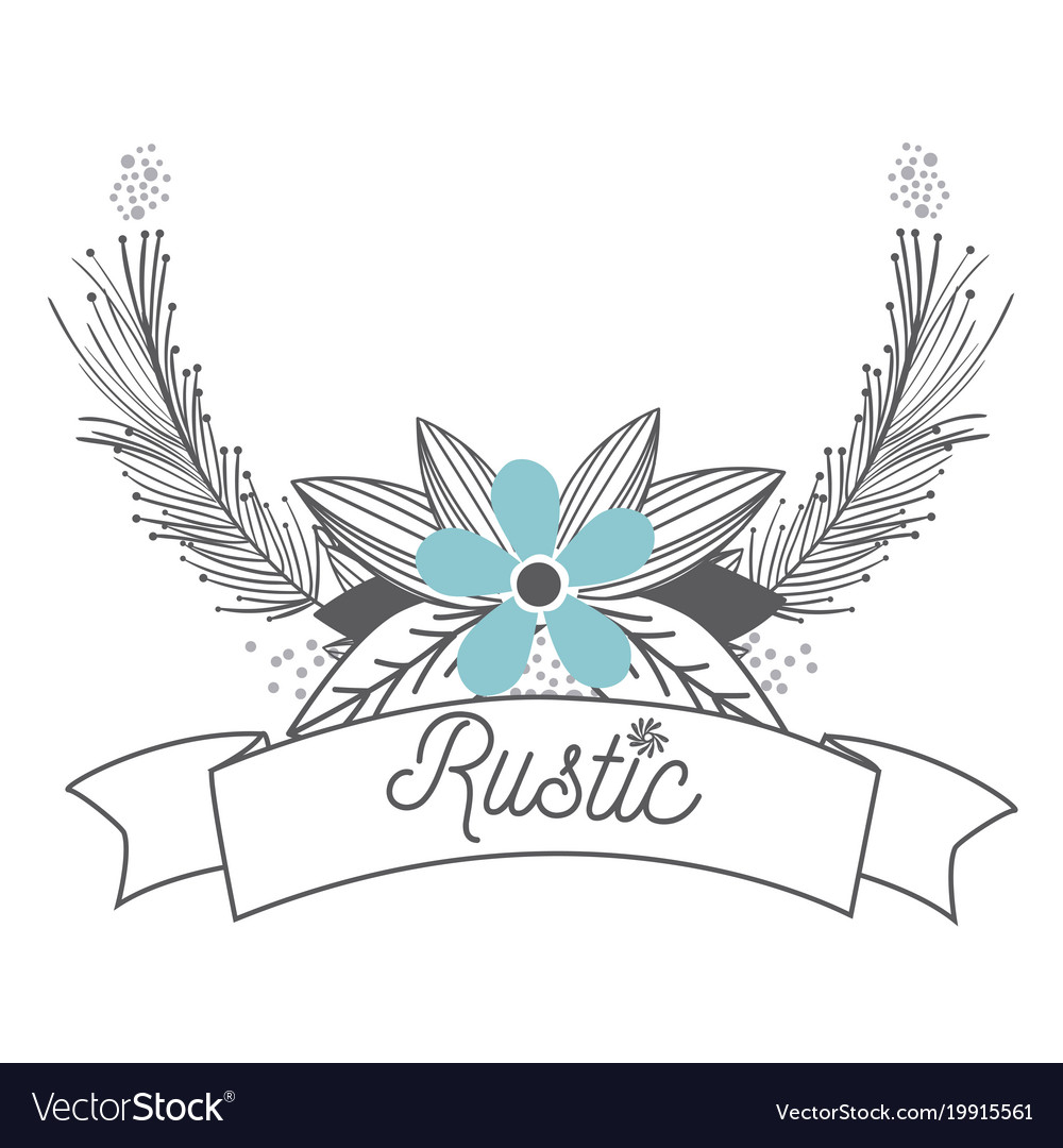Rustic Flowers With Wreath Hand Drawn Vector Image
