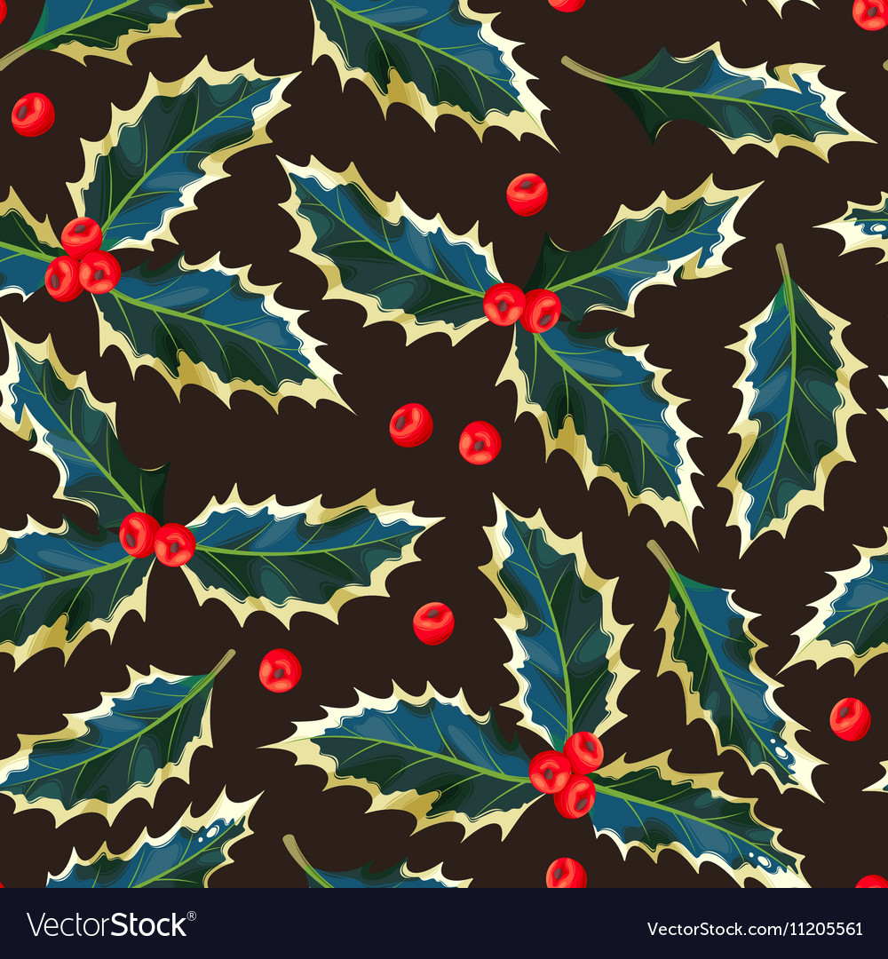 Seamless holly leaves and berries vector image