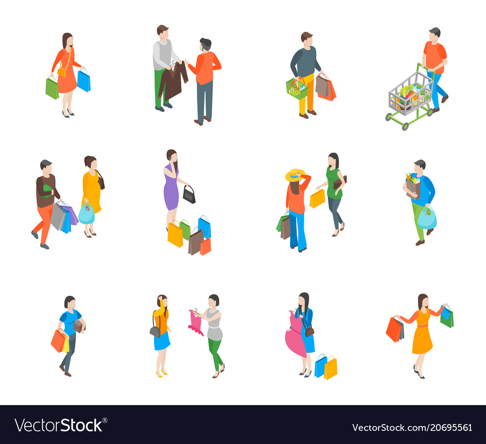 Shopping people 3d icons set isometric view