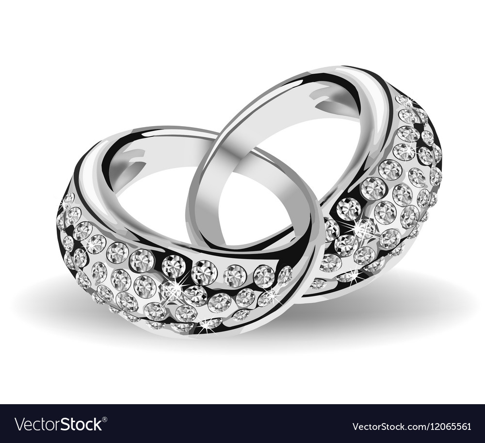 Silver wedding rings and diamonds
