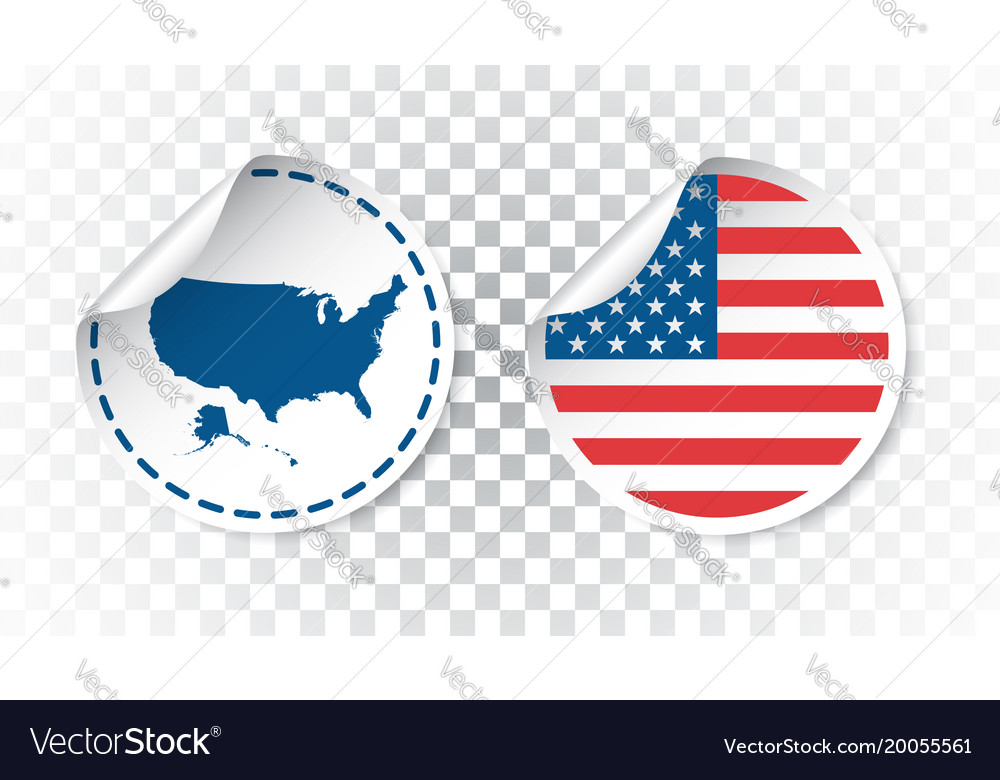 Usa sticker with flag and map america label round