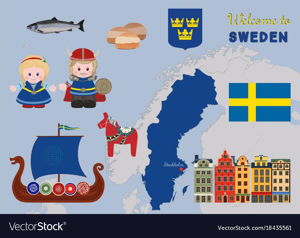 Welcome To Sweden Scandinavian Symbols Set Vector Image