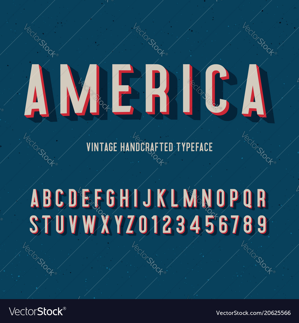 America vintage handcrafted 3d alphabet vector image