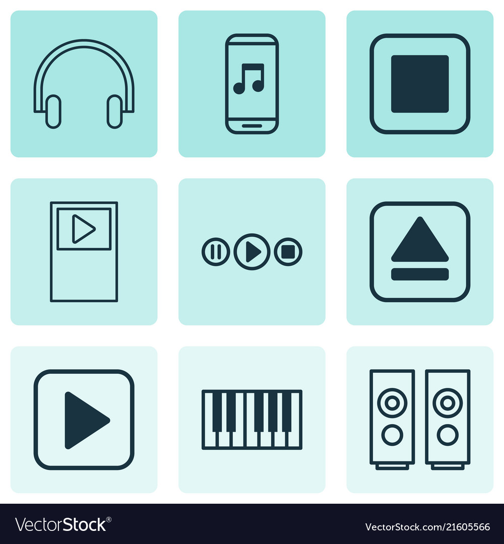 Audio icons set with stop music music application
