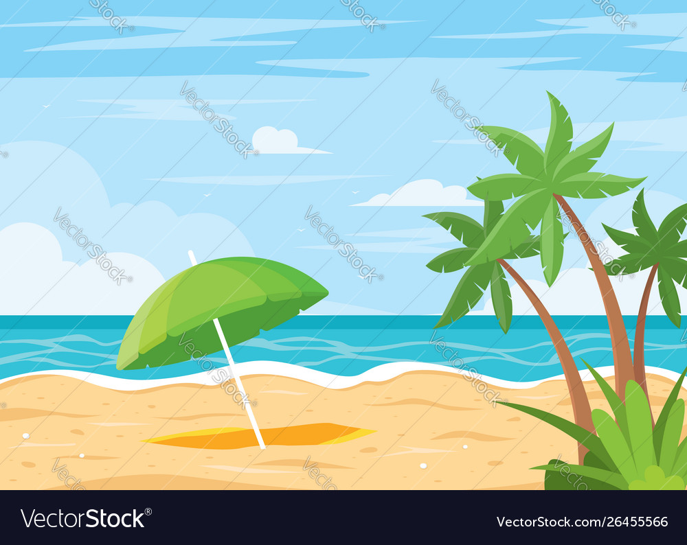 Beach background with umbrella
