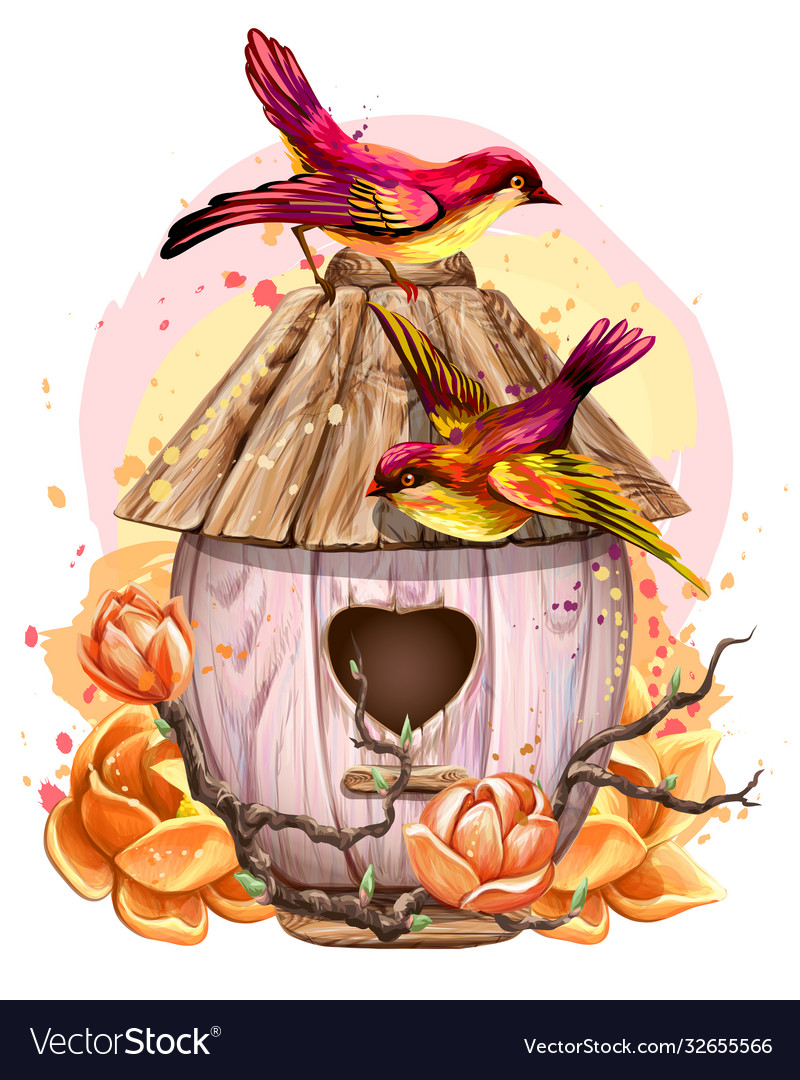 Birdhouse with flowers and birds wall sticker