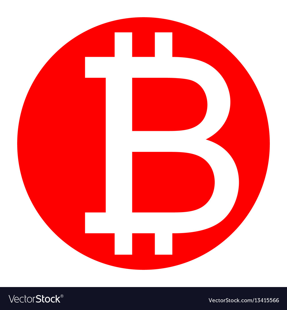 Bitcoin sign white icon in red circle on