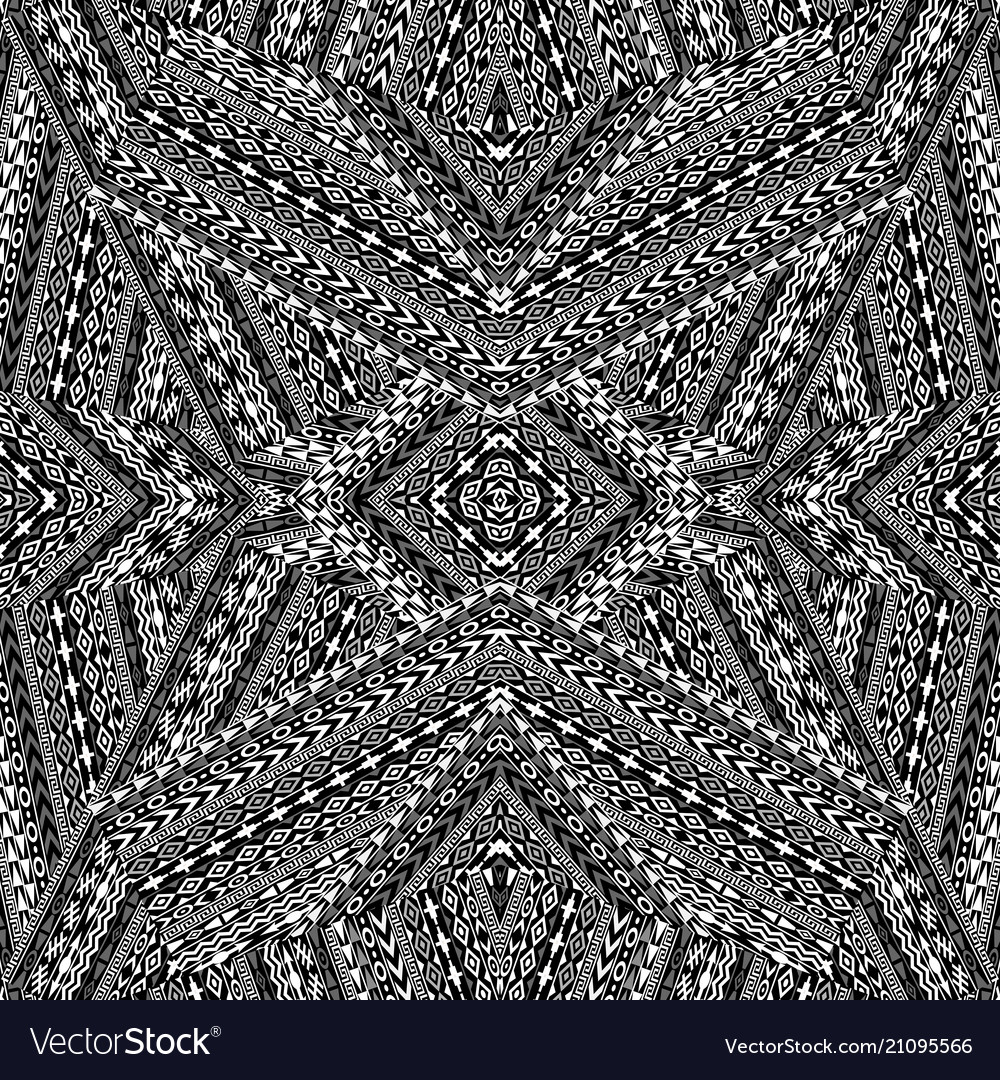 Black and white ethnic motifs pattern