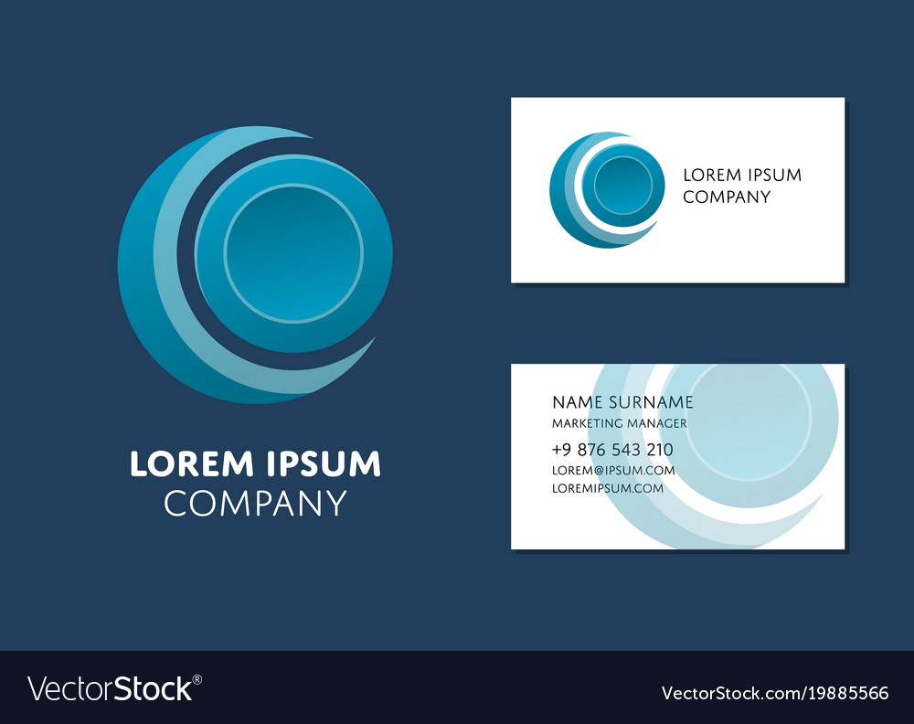 Business card template with blue circle logo vector image cheaphphosting Image collections
