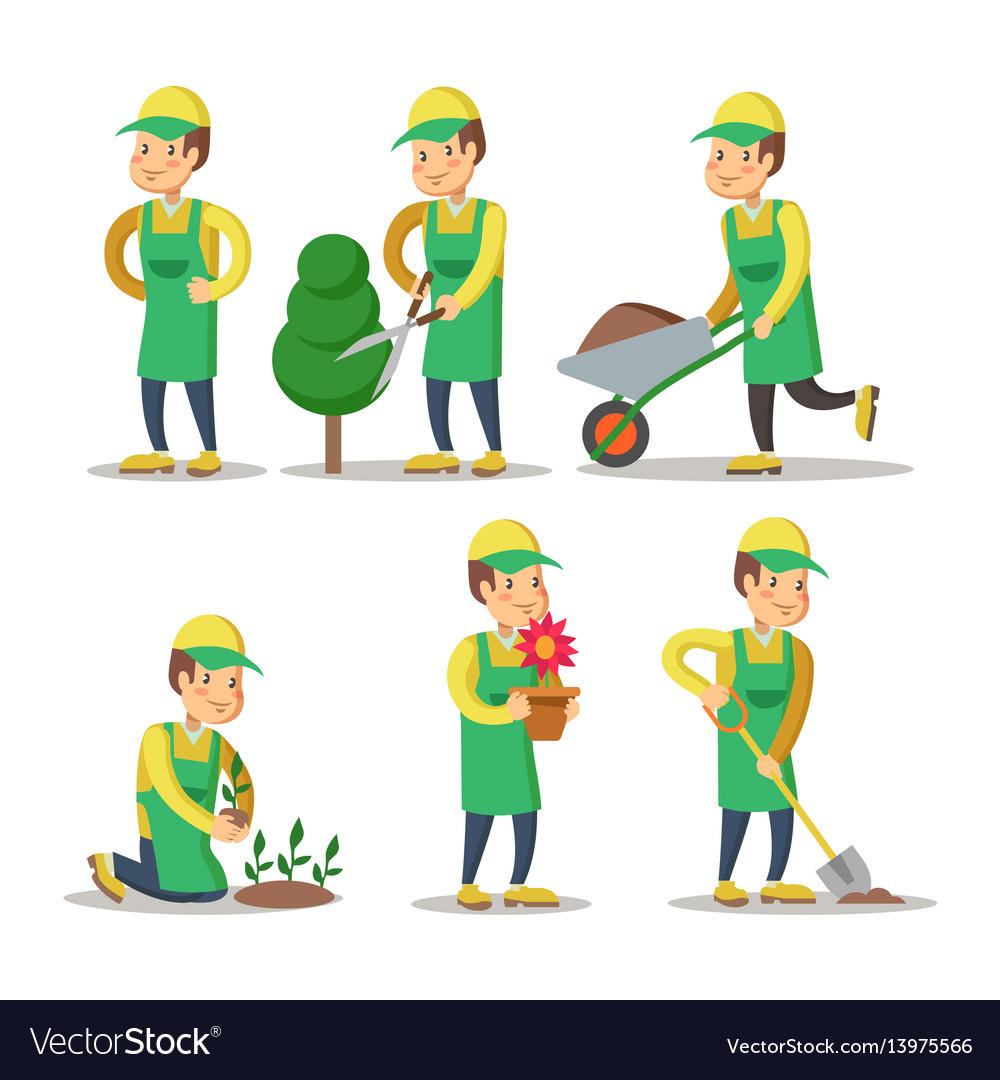 Cartoon gardener planting plant gardening